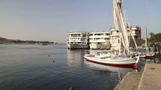 Boats on the Nile river in Aswan