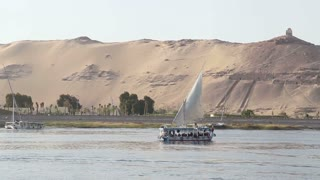 Boats with tourists sailing on the Nile river