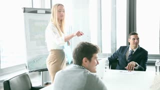 Business people sitting at table while beautiful female colleague giving presentation in conference room, graded