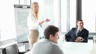 Business people sitting at table while beautiful female colleague giving presentation in conference room