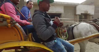CAIRO, EGYPT - FEBRUARY 03, 2016: Young boys riding in horse carriage, Giza