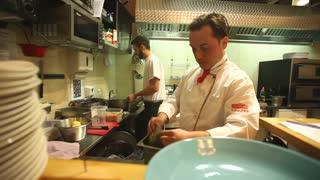 Chefs in the restaurant kitchen
