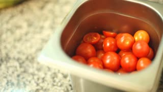 Cherry tomatoes in a bowl in a restaurant