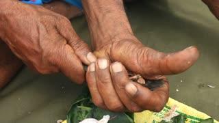 Close up of man preparing paan or betel nut or areca nut mix.