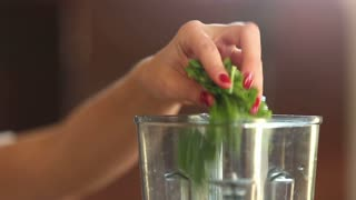 Close-up of woman hand putting spinach and cherry tomatoes into blender, graded