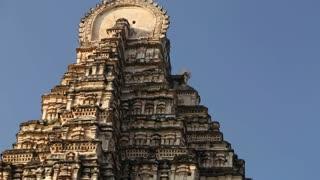 Close view of ancient famous Virupaksha Temple in Hampi