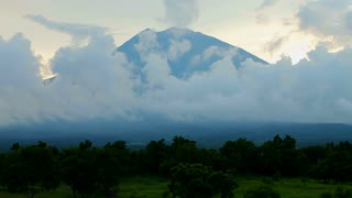Clouds over Volcano Gunung Agung, Bali's highest peak.