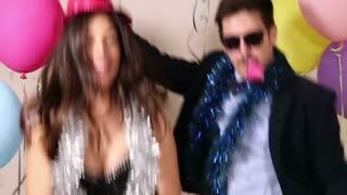 Cool couple dancing and sending kisses
