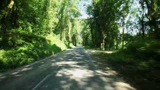 Cycling in country lane in France