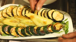 Decorating a grilled vegetables dish