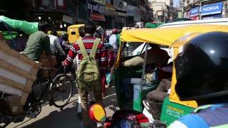 DELHI, INDIA - 4 MARCH 2015: Traffic jam at busy street in Delhi.