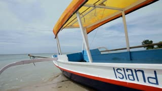 Fishing boat in bay on Gili Air island of Bali, Indonesia