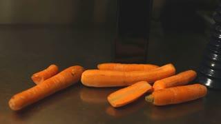Fresh carrots in restaurant interior