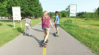 Friends riding on a skate