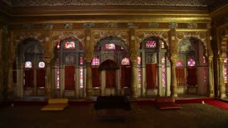 Gallantly decorated room inside of Mehrangarh fort.
