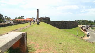 GALLE, SRI LANKA - MARCH 2014: Pan shot of beautiful Galle fort. Galle is the administrative capital of Southern Province, Sri Lanka and is the district capital of Galle District.