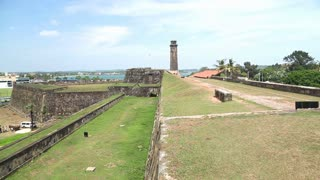 GALLE, SRI LANKA - MARCH 2014: Tracking shot of Galle fort. Galle is the administrative capital of Southern Province, Sri Lanka and is the district capital of Galle District.