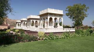 Garden houses in garden of Jaswant Thada temple in Jodhpur.