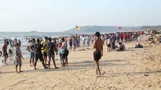 GOA, INDIA - 25 JANUARY 2015: People at the beach in Goa.