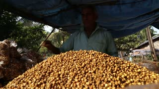GOA, INDIA - 26 JANUARY 2015: Indian man by a pile of chickpeas at a street stand in Goa.