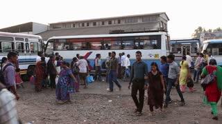 GOA, INDIA - 27 JANUARY 2015: People at local bus terminal in Goa.