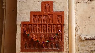Hamsa carvings on the wall of indoor building at Mehrangarh fort.