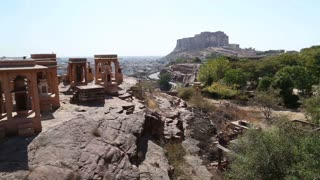 High angle view of Jodhpur cityscape from Jaswant Thada temple.