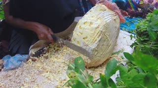HIKKADUWA, SRI LANKA - MARCH 2014: Woman cutting durian fruit with big knife at Sunday market