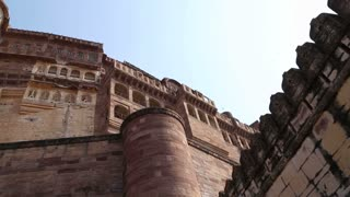 JODHPUR, INDIA - 10 FEBRUARY 2015: Panoramic view of indoor building facades at Mehrangarh fort.