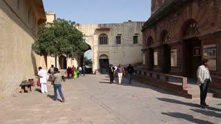 JODHPUR, INDIA - 10 FEBRUARY 2015: People passing through the indoor street of Mehrangarh fort.
