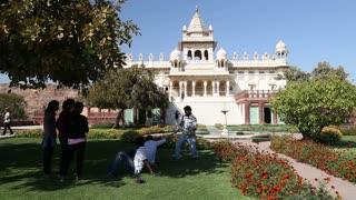 JODHPUR, INDIA - 11 FEBRUARY 2015: People in garden of Jaswant Thada temple in Jodhpur.