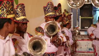 JODHPUR, INDIA - 15 FEBRUARY 2015: Portrait of traditional Indian orchestra playing.