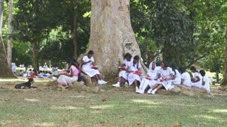 KANDY, SRI LANKA - FEBRUARY 2014: School girls in uniform eating their lunch in the Botanical Garden in Kandy.