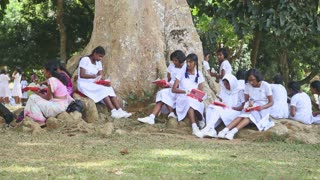 KANDY, SRI LANKA - FEBRUARY 2014: The view of local school girls eating their lunch in the Botanical Garden in Kandy. Kandy is a major city in Sri Lanka, second biggest after Colombo.