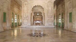 Large indoor room of Jaswant Thada temple in Jodhpur.