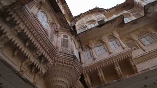 Low angle view of indoor building at Mehrangarh fort.