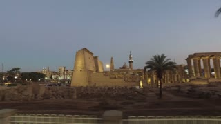LUXOR, EGYPT - FEBRUARY 10, 2016: Karnak temple and street view in Luxor