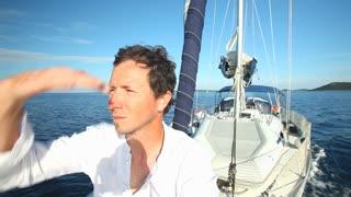 man enjoying a sailing trip on the adriatic sea off the Croatian coast