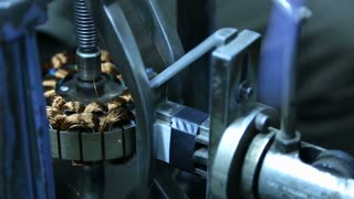 Man setting machine instrument before it starts to work, closeup.