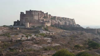 Mehrangarh fort in Jodhpur standing on the hill above city.