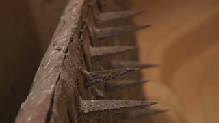 Metal spikes on the wall of Mehrangarh fort, closeup.