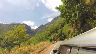 Mountain road view from car in Ella, Sri Lanka