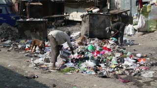 MUMBAI, INDIA - 12 JANUARY 2015: Men picking through garbage on the street of Mumbai.