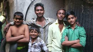 MUMBAI, INDIA - 12 JANUARY 2015: Portrait of five Indian boys in Mumbai.