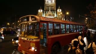 MUMBAI, INDIA - 14 JANUARY 2015: Busy traffic street in the night time in Mumbai.