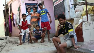 MUMBAI, INDIA - 16 JANUARY 2015: Portrait of Indian boys at the street of Mumbai.