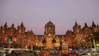 MUMBAI, INDIA - 17 JANUARY 2015: View on Chhatrapati Shivaji Terminus, train terminal in Mumbai at sunset.