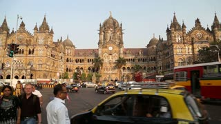 MUMBAI, INDIA - 17 JANUARY 2015: View on Chhatrapati Shivaji Terminus, train terminal in Mumbai.