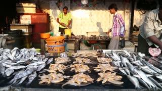 MUMBAI, INDIA - 8 JANUARY 2015: Fish stand at a local market in Mumbai.