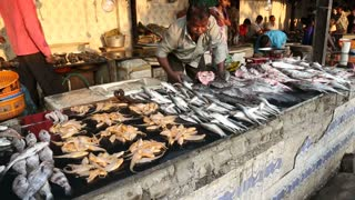 MUMBAI, INDIA - 8 JANUARY 2015: Local Indian men preparing fish for sale at the street market.